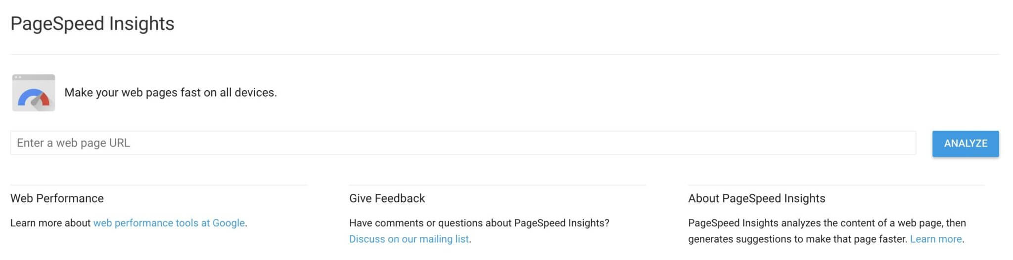PageSpeed Insights tool di Google