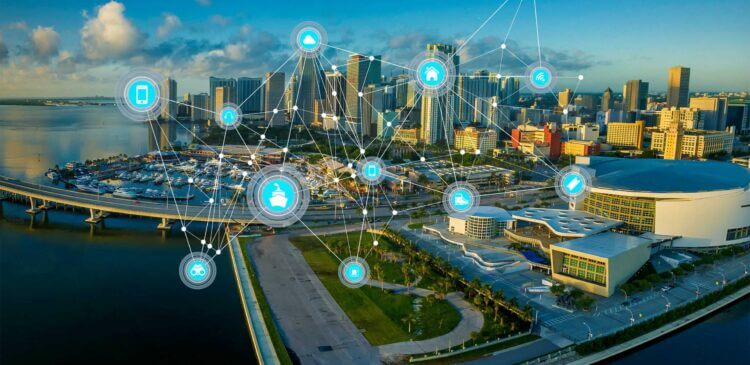 Una smart city collegata tramite l'internet of things